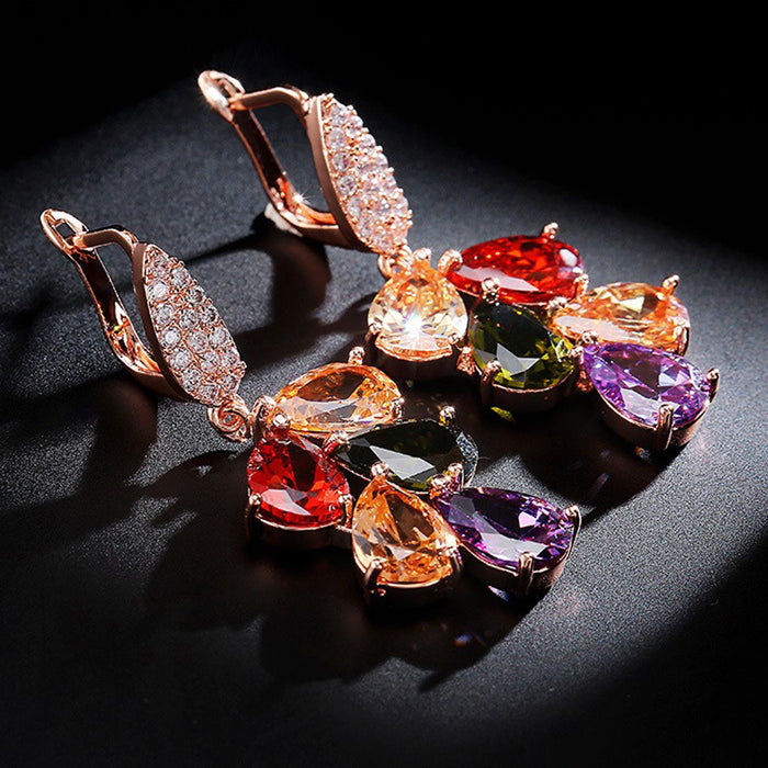 Sukkhi Intricately Leafy Crystal Multi Colour Gold Plated Earring for Women