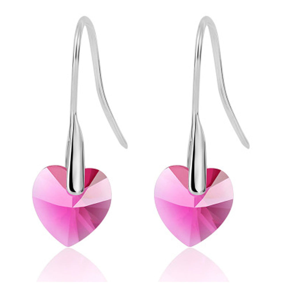 Sukkhi Shimmering Valentine Pink Heart Crystal Rhodium Plated Earring for Women