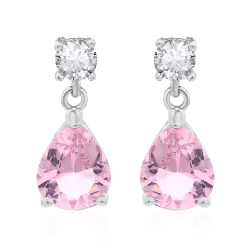 Sukkhi Eye-catchy Pear Pink Crystal Rhodium Plated Earring for Women