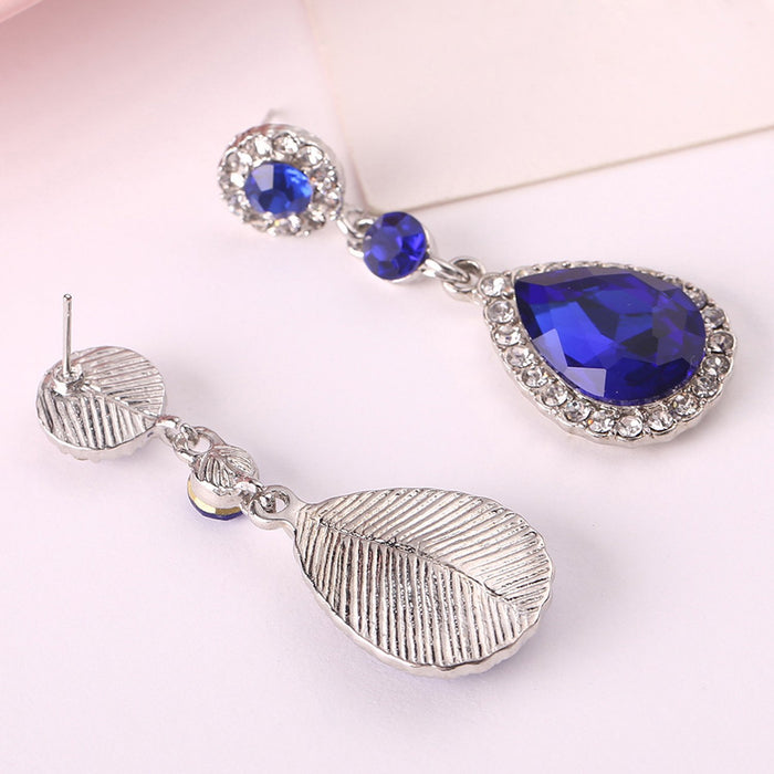 Sukkhi Attractive Blue Crystal Rhodium Plated Earring for Women