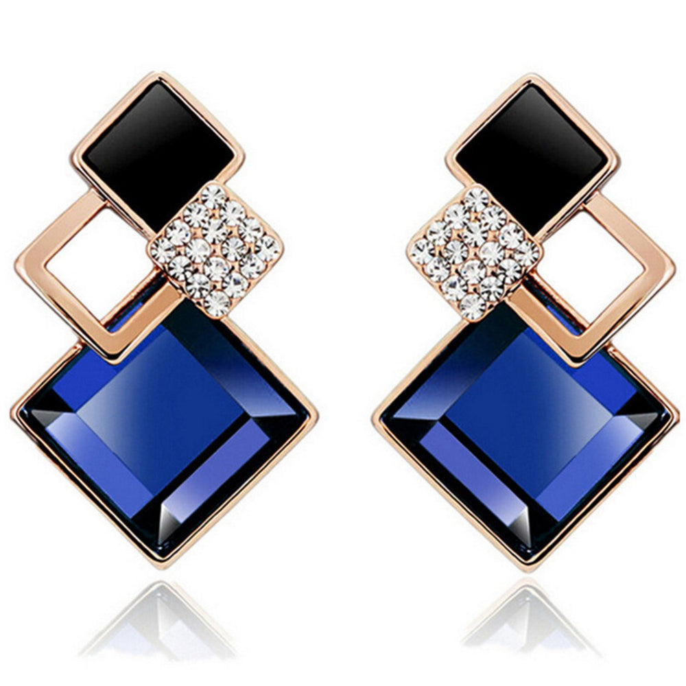 Sukkhi Modern Crystal Gold Plated Black and Blue Earring for Women