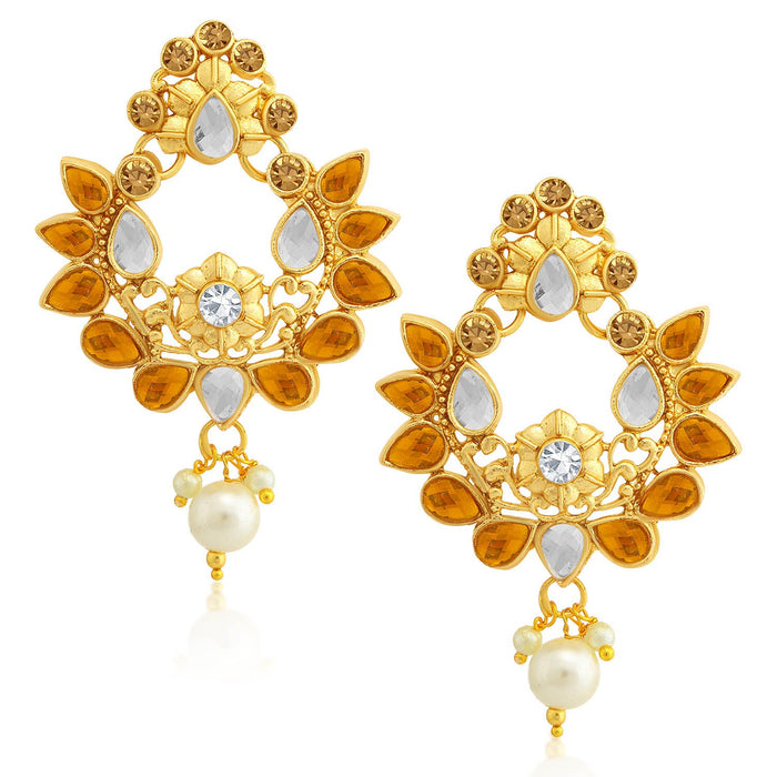 Sukkhi Floral LCT Gold Plated Kundan Dangle Earring For Women