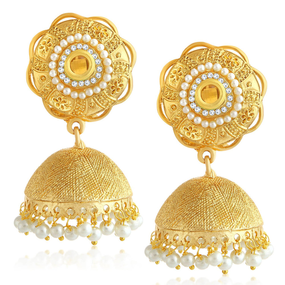 Sukkhi Graceful Floral Gold Plated Pearl Jhumki Earring For Women