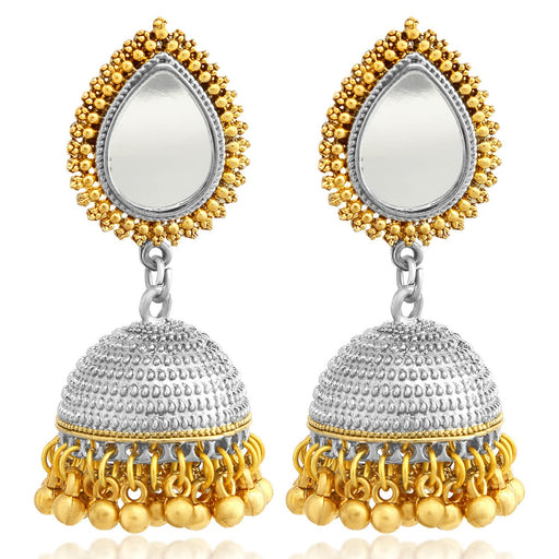 Sukkhi Gleaming Gold and Rhodium Plated Jhumki Earring For Women