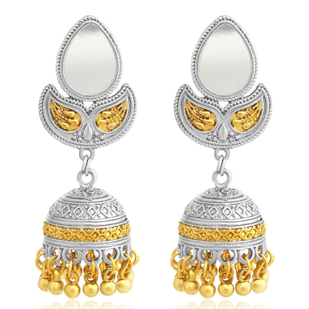 Sukkhi Marvellous Gold and Rhodium Plated Jhumki Earring For Women
