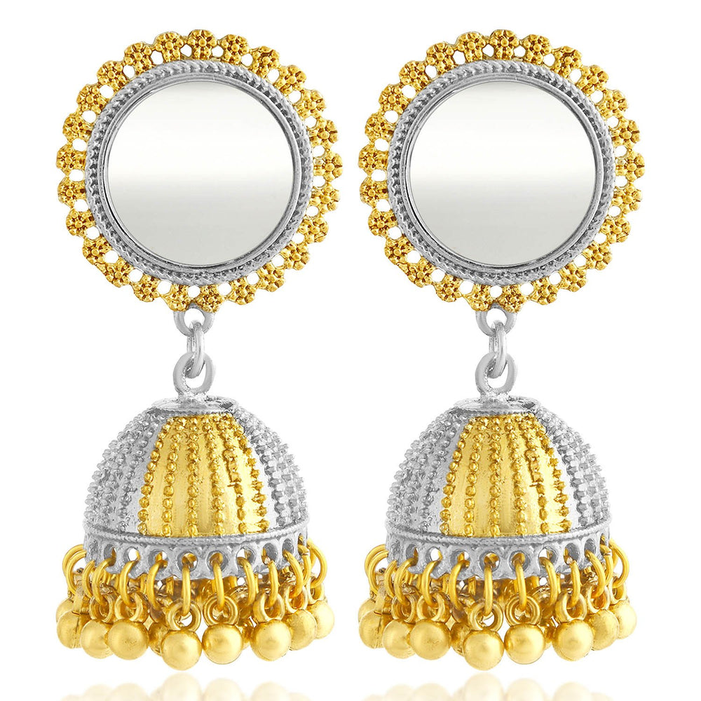 Sukkhi Glossy Gold and Rhodium Plated Jhumki Earring For Women