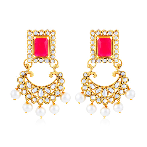 Sukkhi Lavish Gold Plated Kundan Chand Bali Earring for Women