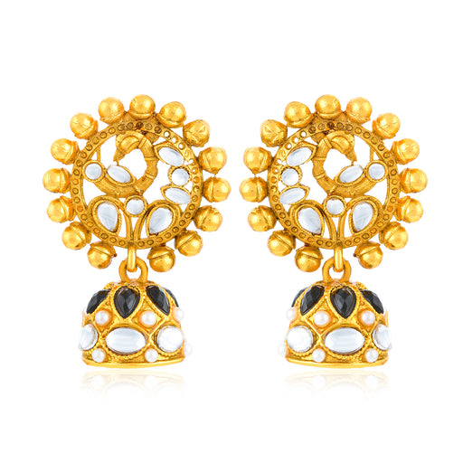 Sukkhi Antique Gold Plated Peacock Jhumki Earring for Women