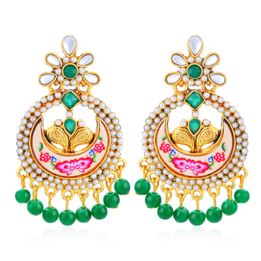 Sukkhi Cluster Gold Plated Kundan Chand Bali Earring for Women