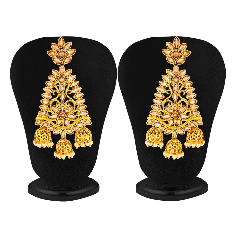 Sukkhi Delightful Gold Plated Floral Chandelier Earring for Women