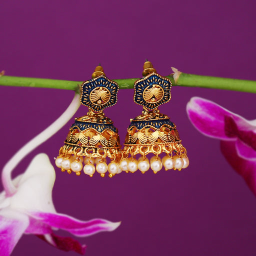 Sukkhi Designer Pearl Gold Plated Mint Collection Jhumki Earring For Women