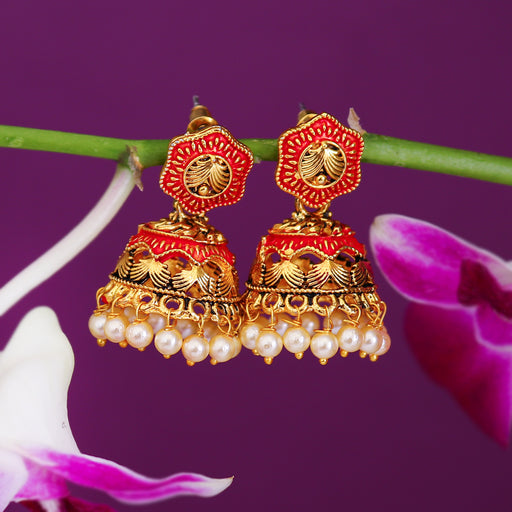 Sukkhi Glitzy Pearl Gold Plated Mint Collection Jhumki Earring For Women