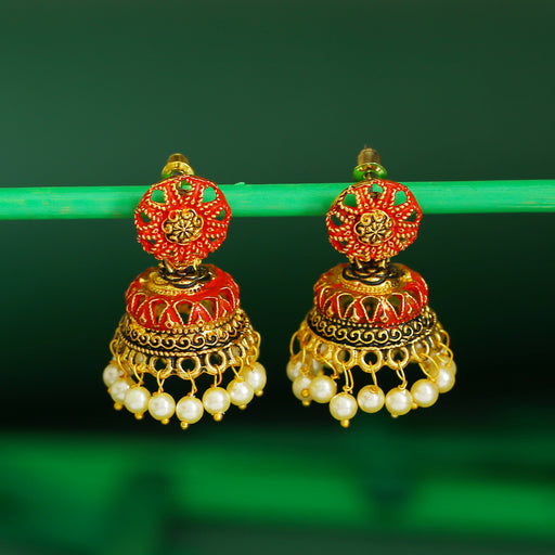 Sukkhi Delightful Pearl Gold Plated Mint Collection Jhumki Earring For Women