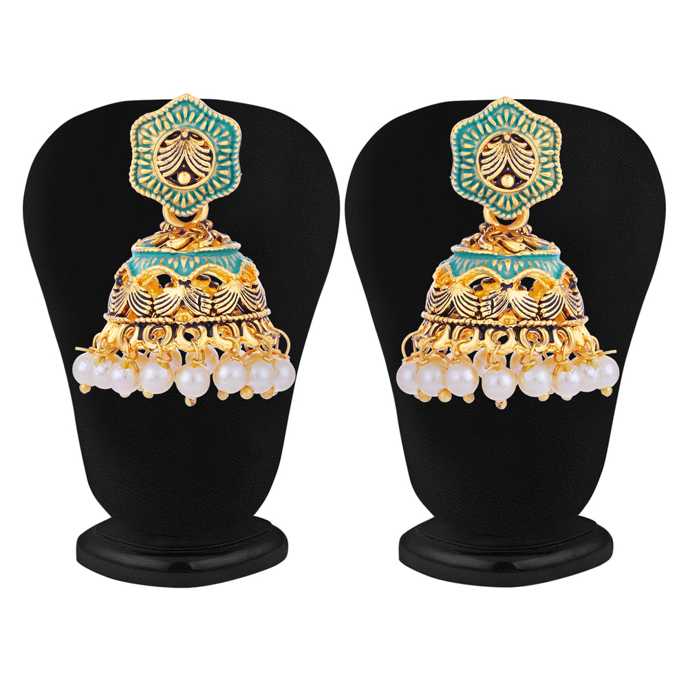 Sukkhi Graceful Pearl Gold Plated Mint Collection Jhumki Earring For Women