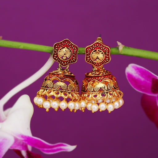 Sukkhi Equisite Pearl Gold Plated Mint Collection Jhumki Earring For Women
