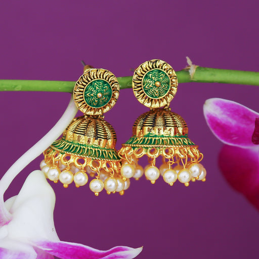 Sukkhi Modern Pearl Gold Plated Mint Collection Jhumki Earring For Women