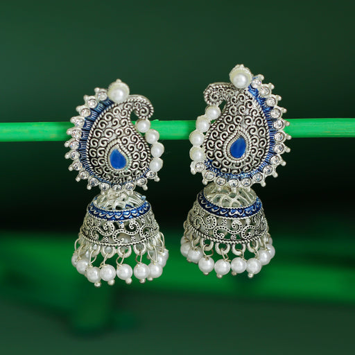 Sukkhi Glorious Oxidised Plated Pearl Mint Collection Jhumki Earring For Women