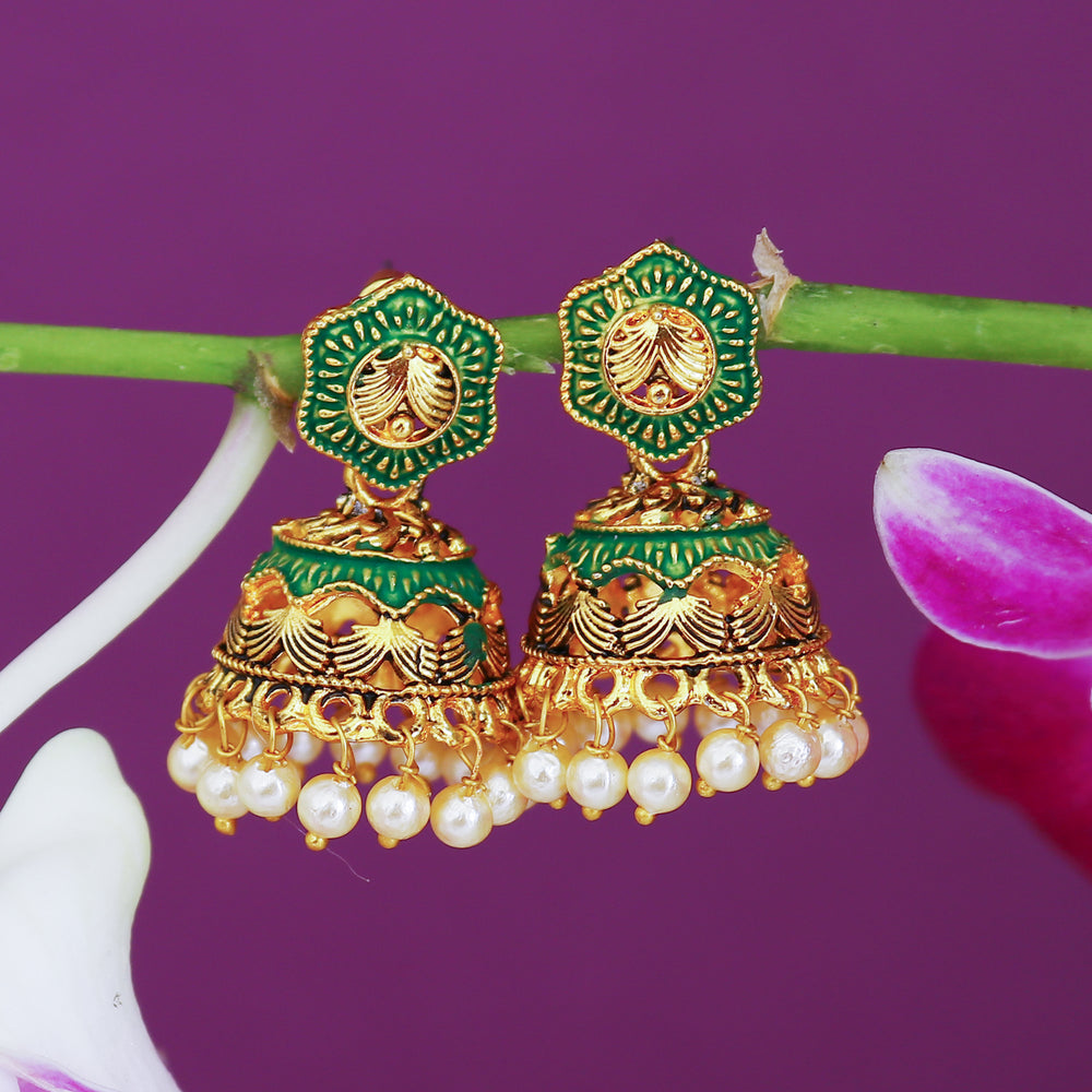 Sukkhi Classic Pearl Gold Plated Mint Collection Jhumki Earring For Women