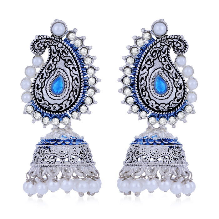 Sukkhi Ethnic Oxidised Paisley Mint Collection Pearl Jhumki Earring For Women
