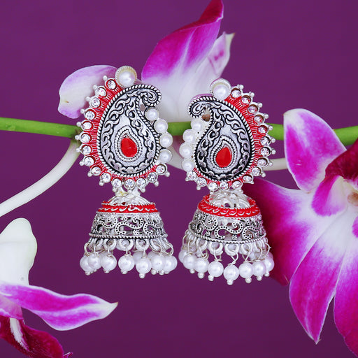 Sukkhi Brilliant Oxidised Paisley Mint Collection Pearl Jhumki Earring For Women