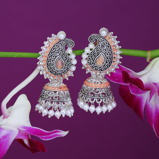 Sukkhi Designer Oxidised Paisley Mint Collection Pearl Jhumki Earring For Women