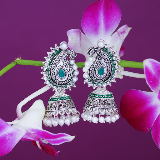 Sukkhi Delightful Oxidised Paisley Mint Collection Pearl Jhumki Earring For Women