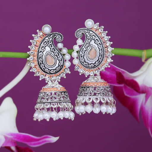 Sukkhi Spectacular Oxidised Paisley Mint Collection Pearl Jhumki Earring For Women
