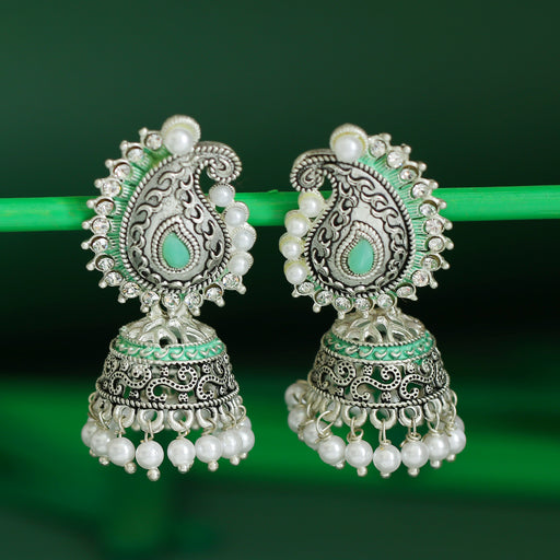 Sukkhi Splendid Oxidised Paisley Mint Collection Pearl Jhumki Earring For Women