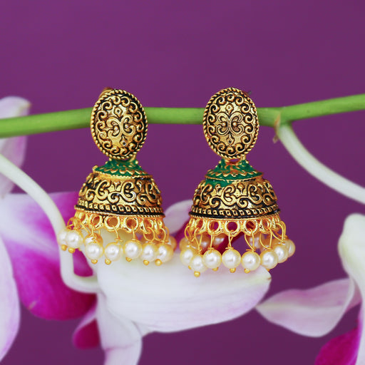 Sukkhi Ravishing Pearl Gold Plated Mint Collection Jhumki Earring For Women