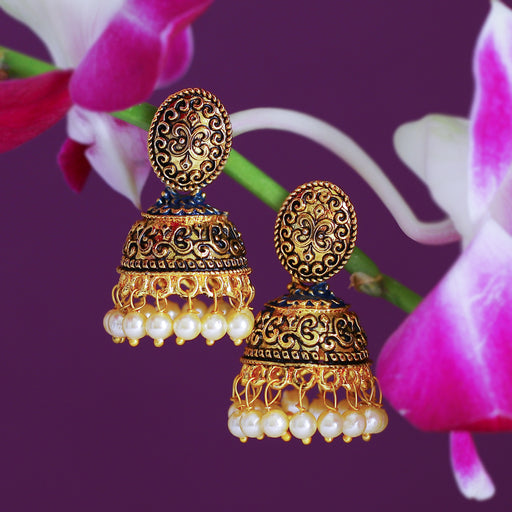 Sukkhi Classy Pearl Gold Plated Mint Collection Jhumki Earring For Women