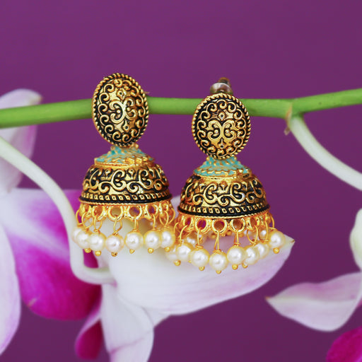 Sukkhi Fascinating Pearl Gold Plated Mint Collection Jhumki Earring For Women