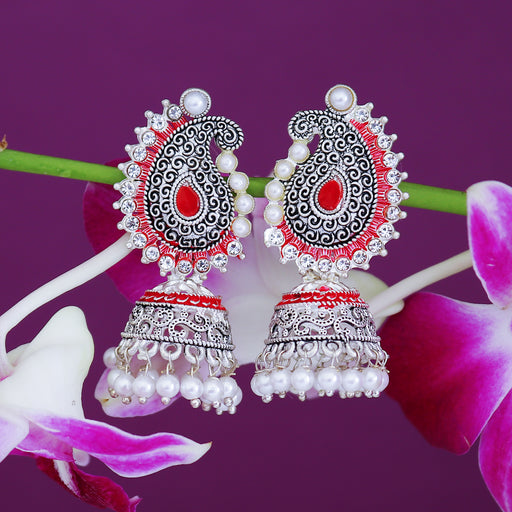 Sukkhi Fascinating Oxidised Paisley Mint Collection Pearl Jhumki Earring For Women