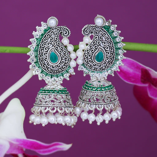 Sukkhi Sparkling Oxidised Paisley Mint Collection Pearl Jhumki Earring For Women
