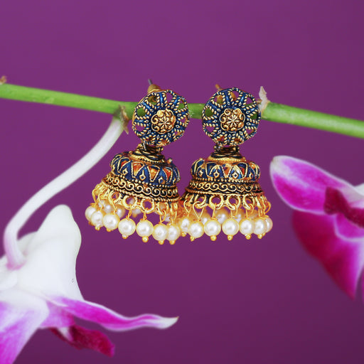 Sukkhi Beautiful Gold Plated Mint Collection Pearl Jhumki Earring For Women