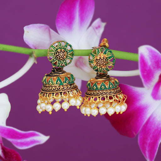Sukkhi Alluring Gold Plated Mint Collection Pearl Jhumki Earring For Women