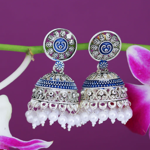 Sukkhi Amazing Mint Collection Pearl Oxidised Jhumki Earring For Women