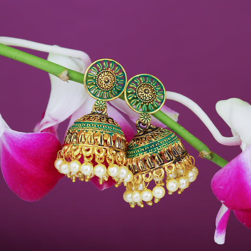 Sukkhi Charming Gold Plated Mint Collection Pearl Jhumki Earring For Women