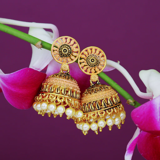 Sukkhi Eye-Catchy Gold Plated Mint Collection Pearl Jhumki Earring For Women
