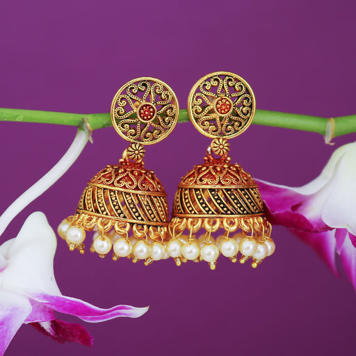 Sukkhi Delightful Gold Plated Mint Collection Pearl Jhumki Earring For Women