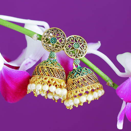 Sukkhi Incredible Gold Plated Mint Collection Pearl Jhumki Earring For Women