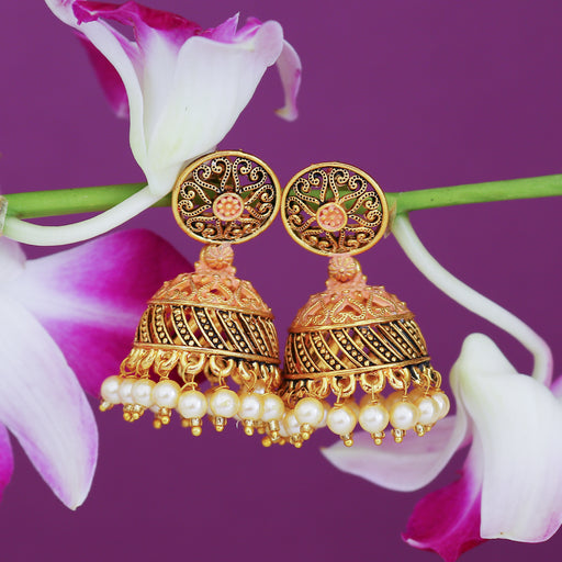 Sukkhi Attractive Gold Plated Mint Collection Pearl Jhumki Earring For Women