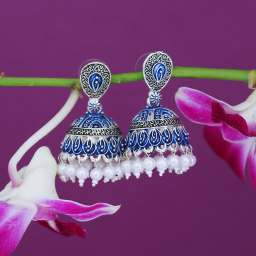 Sukkhi Luxurious Mint Collection Pearl Oxidised Jhumki Earring For Women