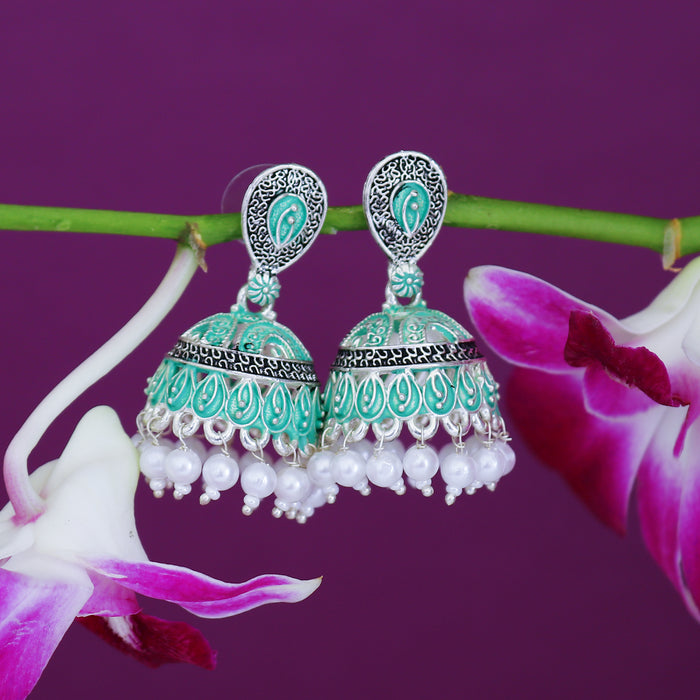 Sukkhi Fascinating Mint Collection Pearl Oxidised Jhumki Earring For Women
