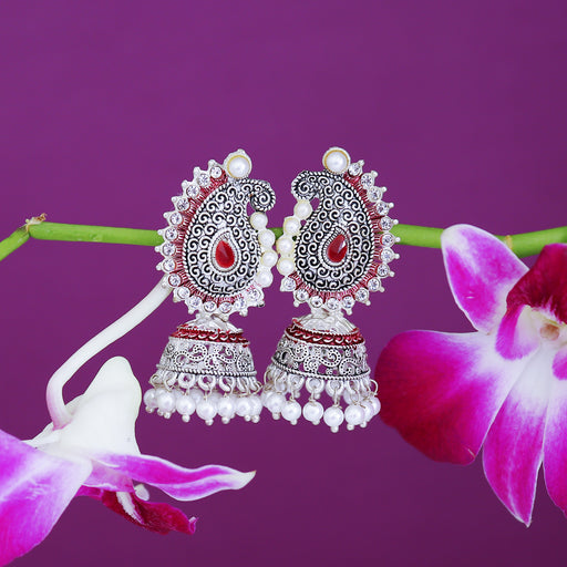 Sukkhi Lavish Oxidised Paisley Mint Collection Pearl Jhumki Earring For Women