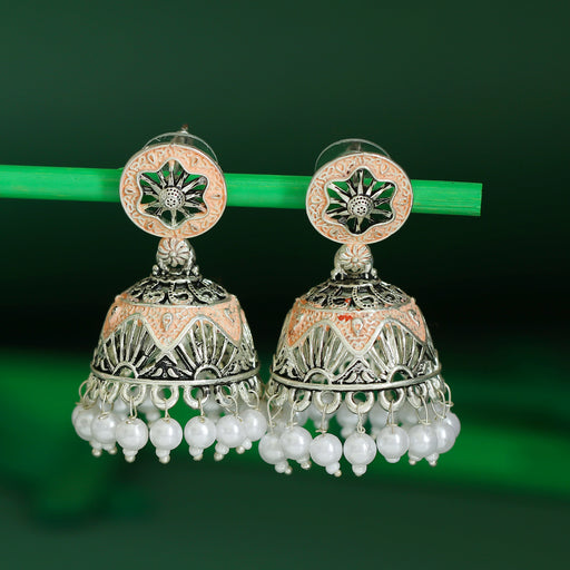 Sukkhi Glitzy Oxidised Mint Collection Pearl Jhumki Earring For Women