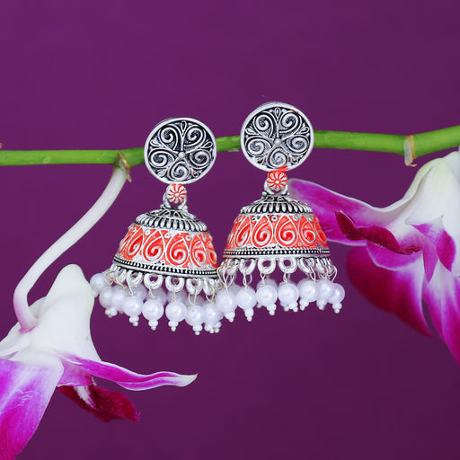 Sukkhi Glittery Oxidised Mint Collection Pearl Jhumki Earring For Women