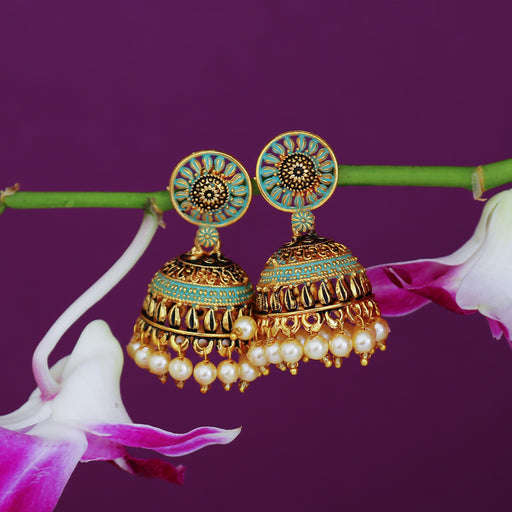 Sukkhi Amazing Oxidised Mint Collection Pearl Jhumki Earring For Women