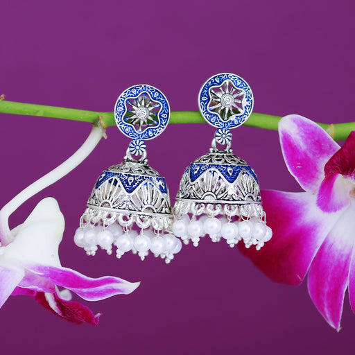 Sukkhi Exotic Oxidised Mint Collection Pearl Jhumki Earring For Women