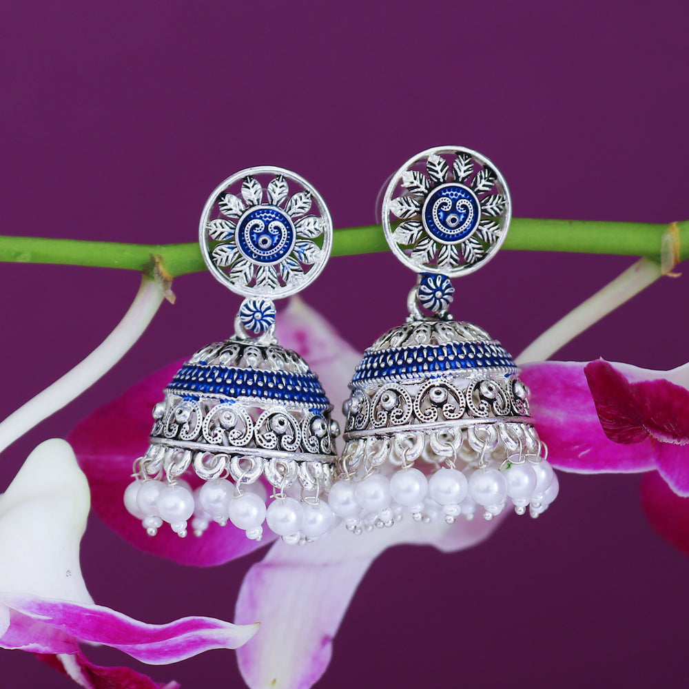 Sukkhi Fabulous Oxidised Mint Collection Pearl Jhumki Earring For Women