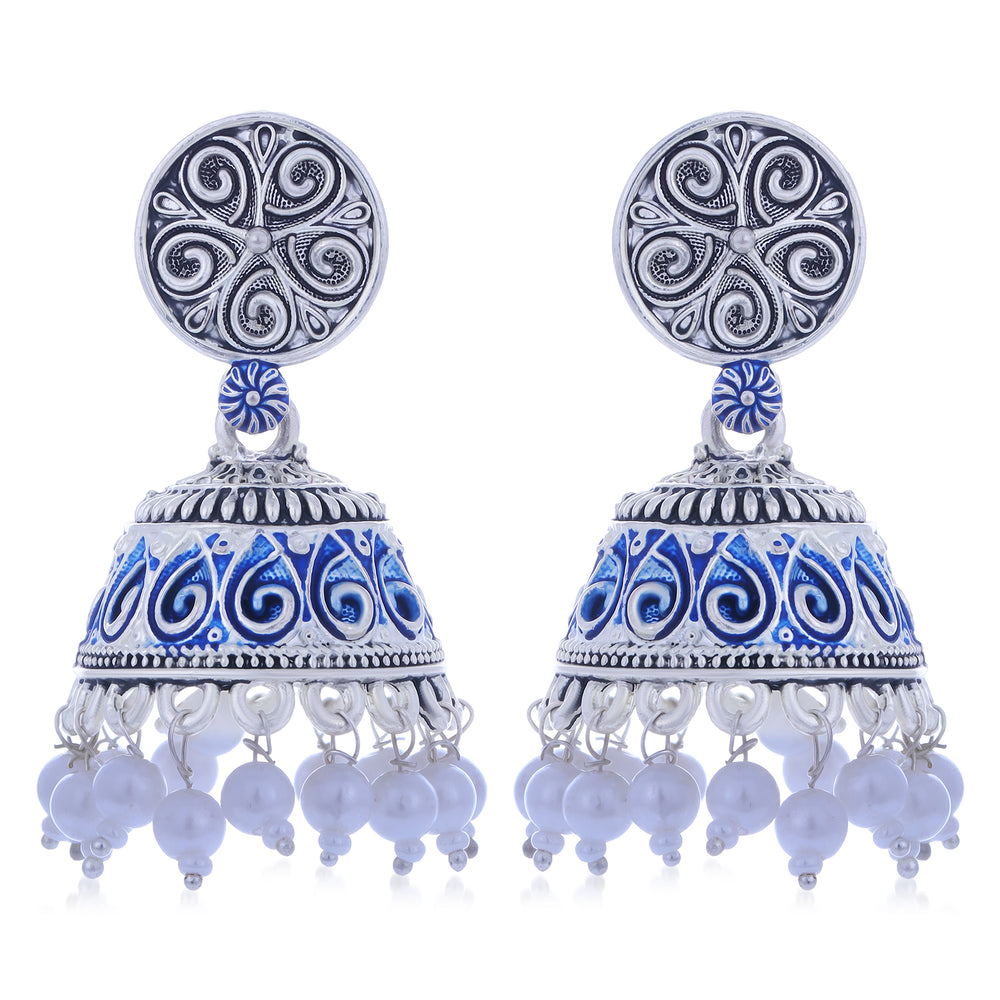 Sukkhi Fashionable Oxidised Mint Collection Pearl Jhumki Earring For Women